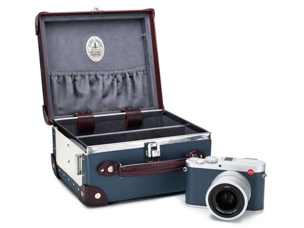 The Limited Edition Leica Q 'Globe-Trotter', available in Navy orLight Pink
