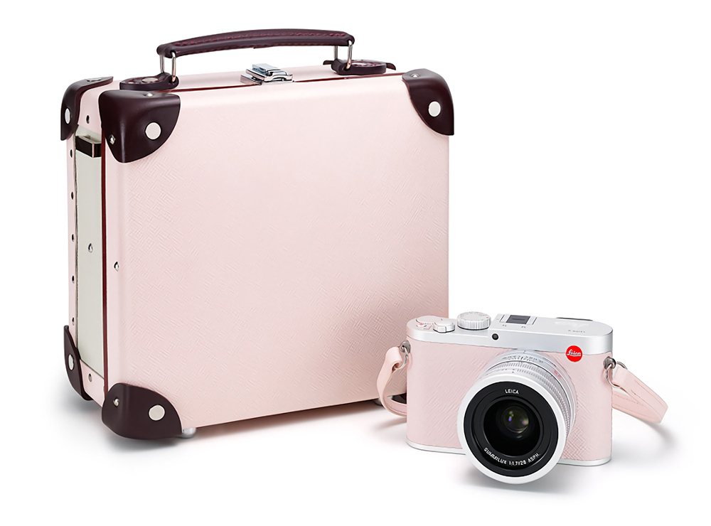 The Limited Edition Leica Q 'Globe-Trotter', available in Navy or Light Pink