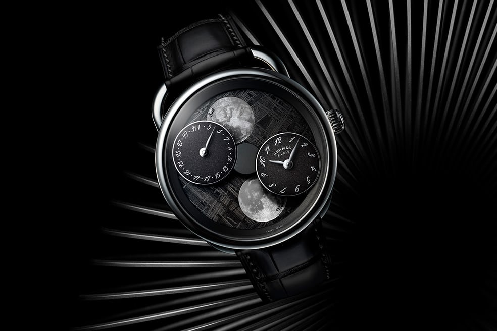 Hermès Arceau L'heure De La Lune, a dreamy take on a double moonphase complication