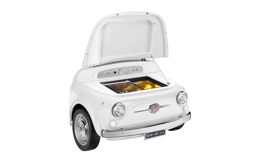 FIAT X SMEG White Electric Cooler, a fashionable statement