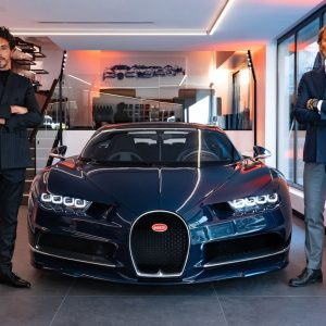 Bugatti's new showroom in Paris features the new corporate design of the French luxury brand