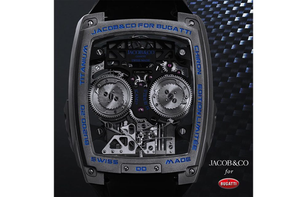 The Bugatti Chiron by Jacob & Co features a 16 cylinder piston engine