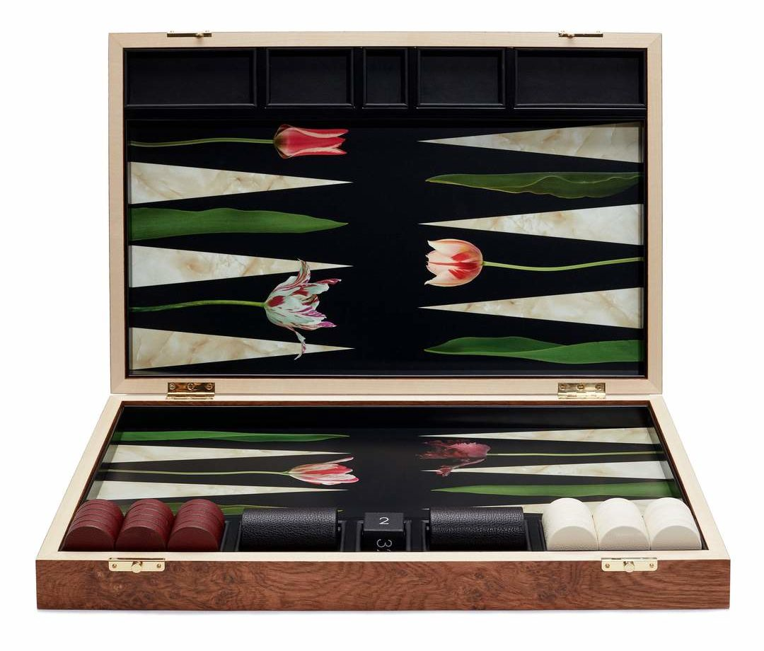 Alexandra Llewellyn's enchanting Tulips backgammon board