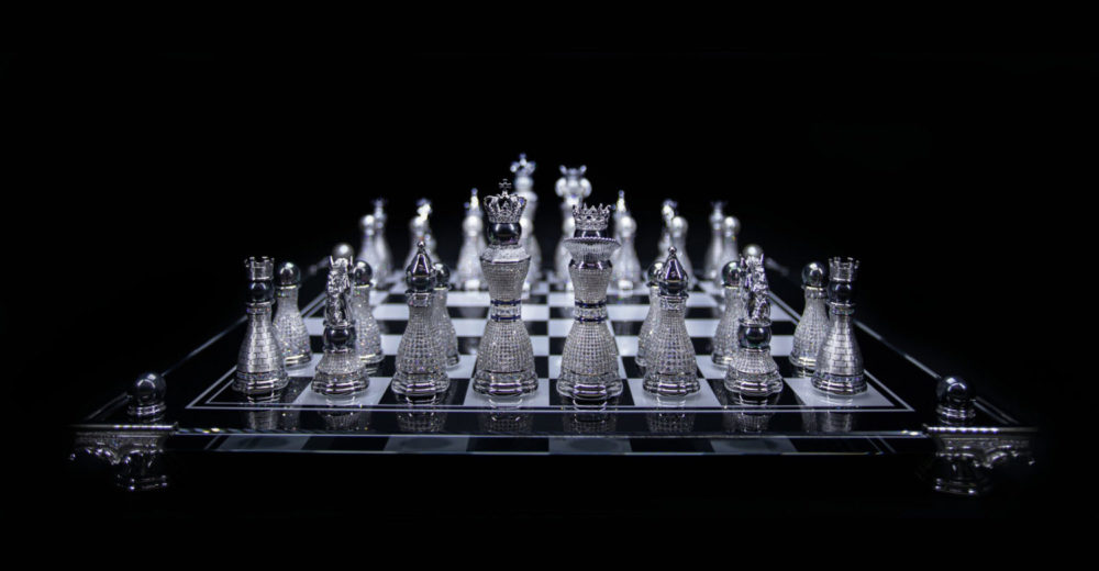 Colin Burn's Limited Edition Pearl Royale Chess Set radiates pure opulence