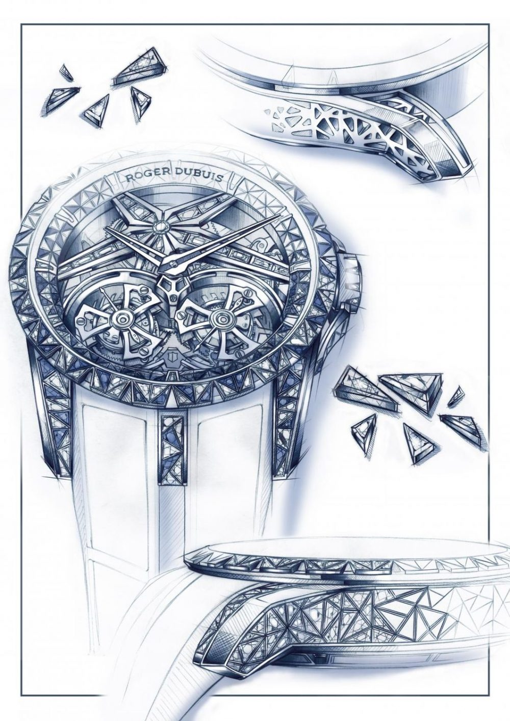 Roger Dubuis Excalibur Superbia features two flying tourbillon in a manufacture skeleton calibre